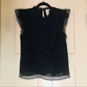 Anthropologie Navy Lace Blouse by Guest Editor